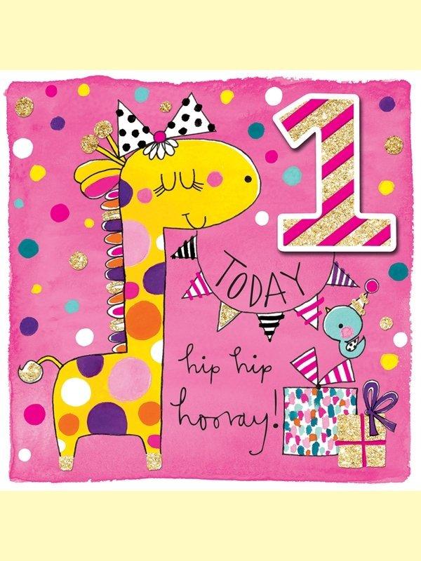 Rachel Ellen: Happy Birthday Giraffe Age 1 Card