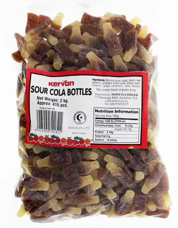 Kervan Sour Cola Bottles Bulk Bag 2kg