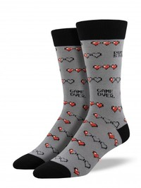 Mens Gamer Life Crew Socks - Grey