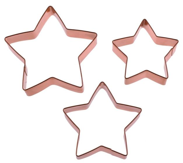 Star Cookie Cutters - Copper Plated (Set Of 3)