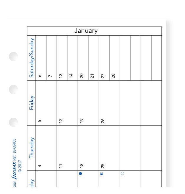 Filofax: Personal 2019 Refill - Month per Page (Horizontal, Lined)