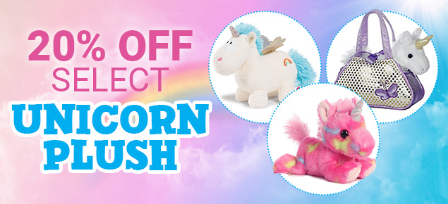20% off select Unicorn Plush!