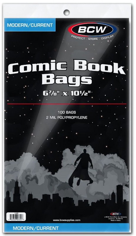 "BCW: Comic Book Bags - Current (6.87"" x 10.5"")"
