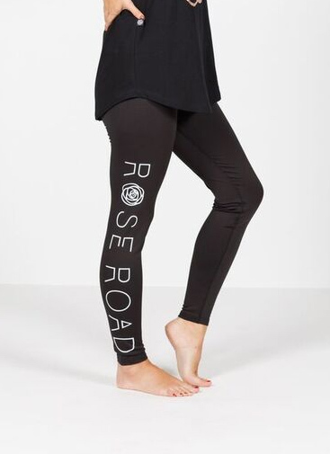 Rose Road: Full Length Leggings - Black With Logo - Medium