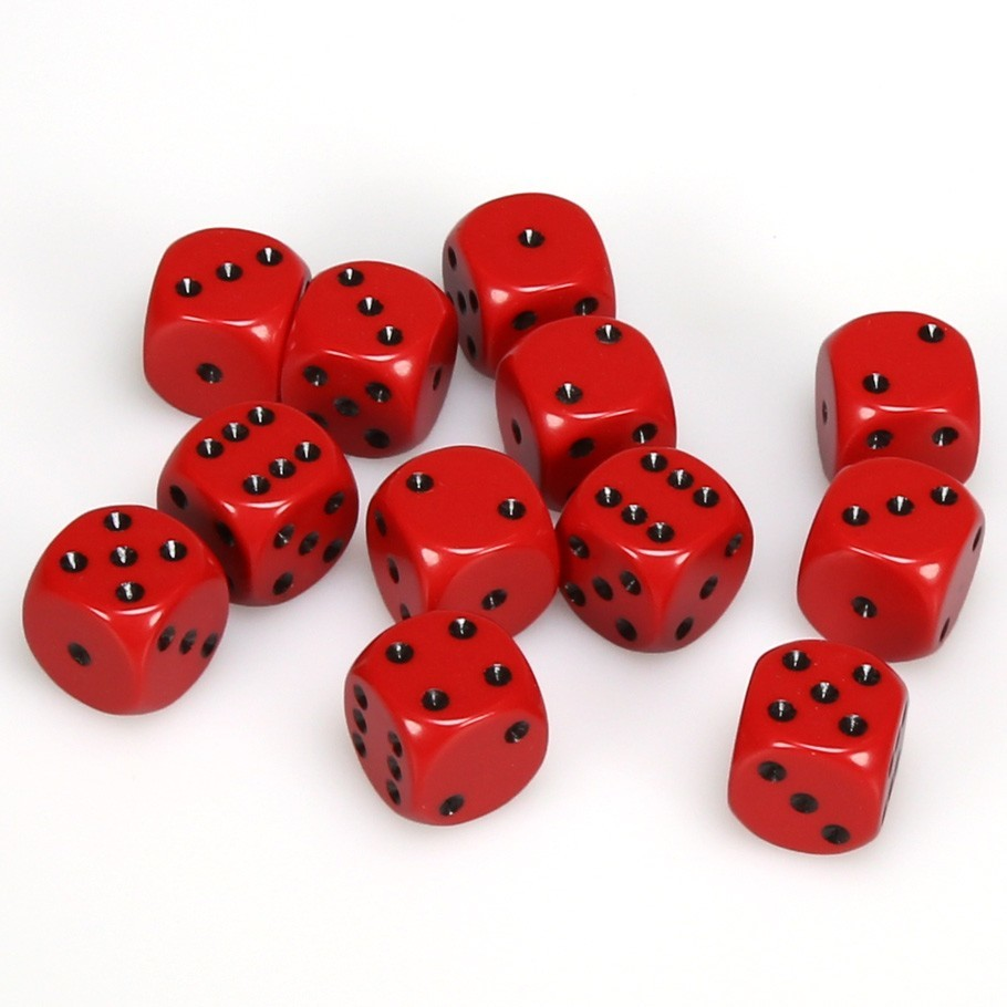 Chessex: D6 Opaque Cube Set (16mm) - Red/Black image