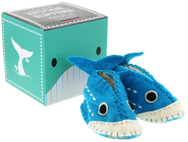 Woolie Slippers - Whale