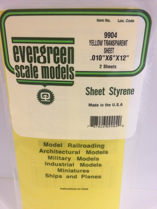 Evergreen Styrene Sheet Yellow 15X29cm X2 mm (2)