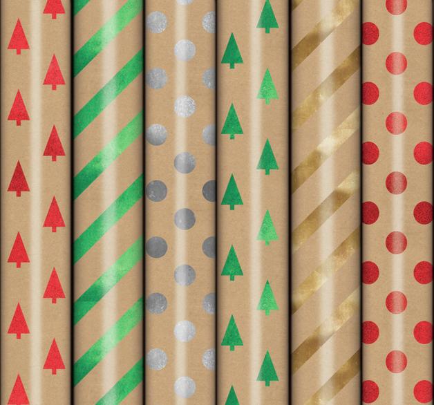 Patelena House: Christmas Roll Wrap - Kraft Foil Stamp 1.5M (Assorted Designs)
