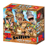 Super 3D: 63-Piece Jigsaw Puzzle - Dino Selfie