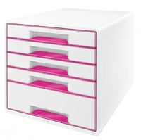 Leitz WOW Cube 5-Drawer Cabinet Pink