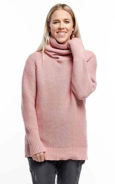 Home-Lee: Chunky Knitted Sweater - Rose Pink With Roll Neck - S
