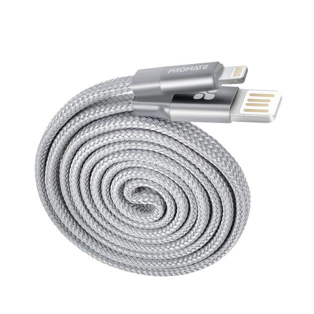 Promate Coiline-i Durable Aluminium Alloy Auto-Rolling Reversible USB-A to Lighting Cable with 2A Fast Charging - Grey