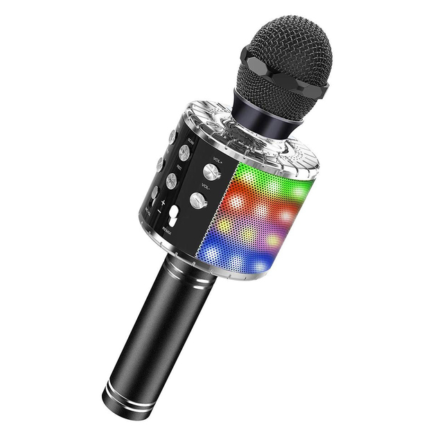 Bluetooth Karaoke Microphone with LED - Black