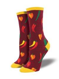 Womens - Maroon A Little Chili Crew Socks