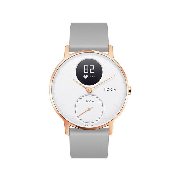 Nokia Steel HR Smart Watch - 36mm, Rose Gold/Grey Silicone