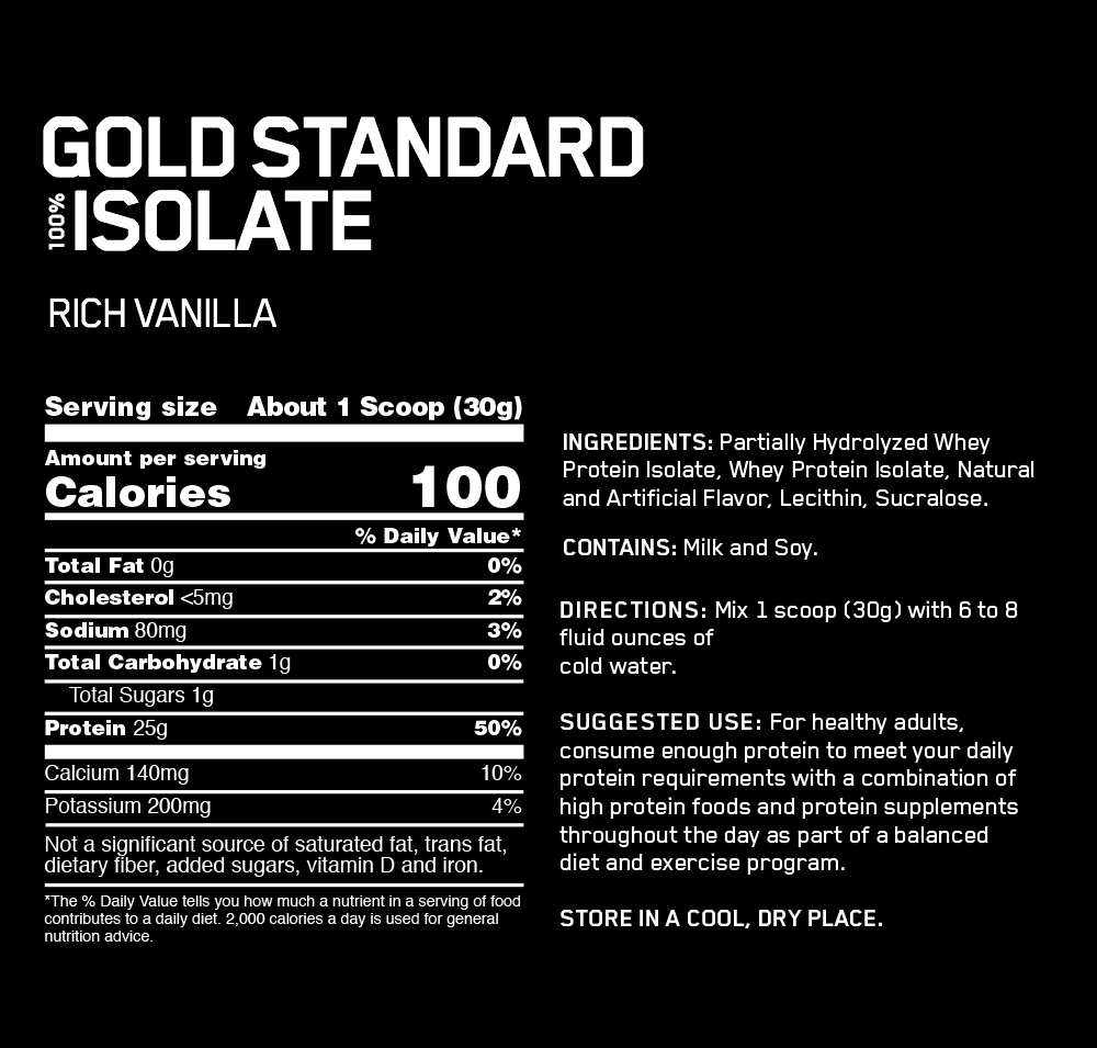 Optimum Nutrition: Gold Standard 100% Isolate - Rich Vanilla (720g) image