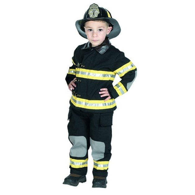 Get Real Gear Junior Fire Fighter Suit Set - Black Size 6-8