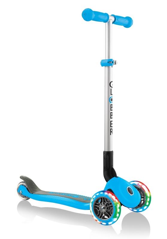 Globber: Primo Lights - Foldable Scooter (Sky Blue)