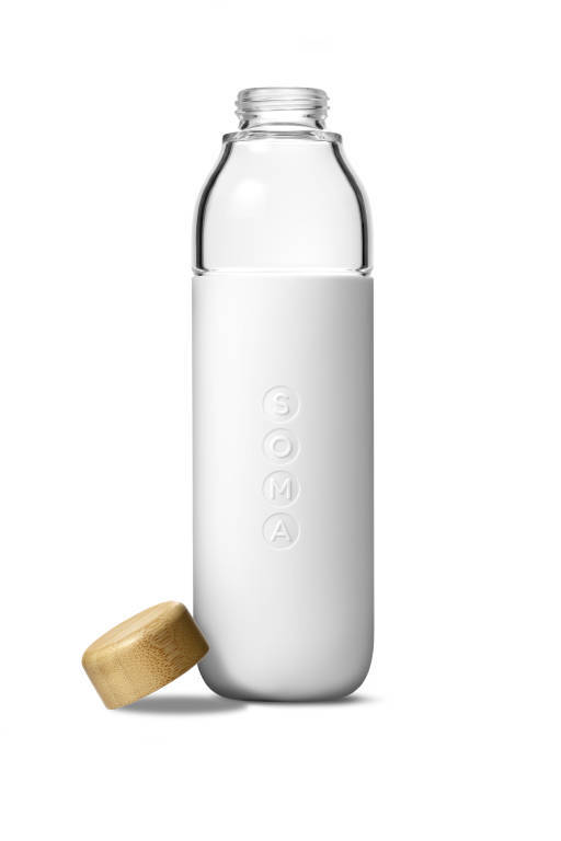 Soma Water Bottle Glass 470ml White