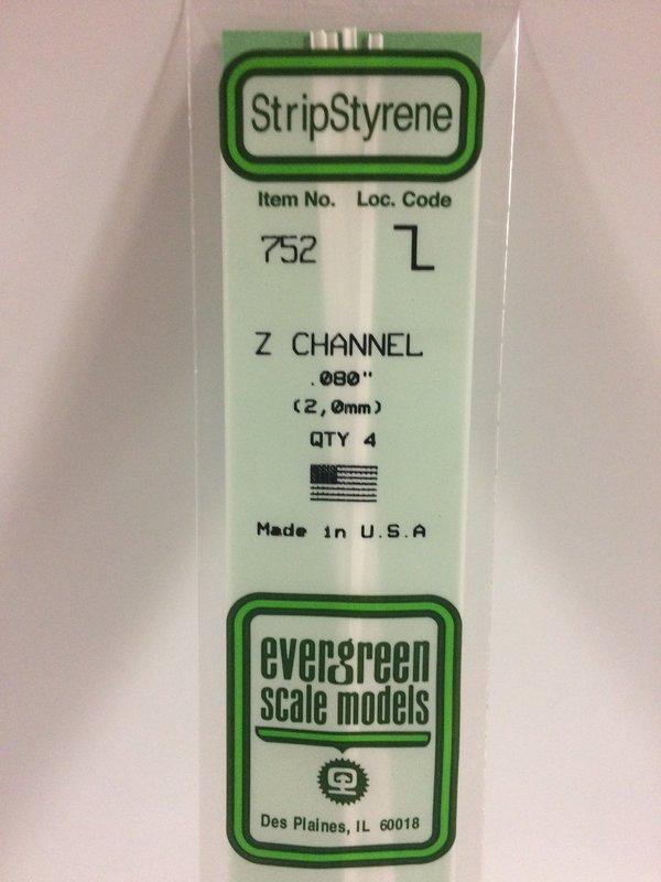 """Evergreen Styrene Z 35cm .080"""" X .040"""" X .016"""""""