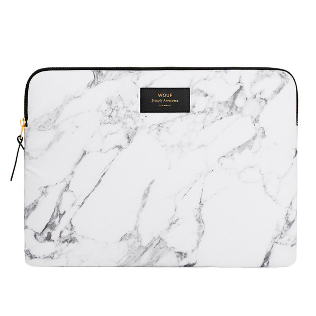 Wouf: Laptop Sleeve White Marble