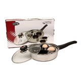 4 Cup Stainless Steel Egg Poacher with Glass Lid (22cm)