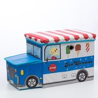 Foldable Fabric Toy Box - Ice Cream Truck (Blue)
