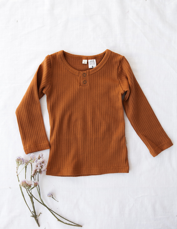 Karibou Kids: Willow Long Sleeve Cotton Top - Antique Gold 2YRS
