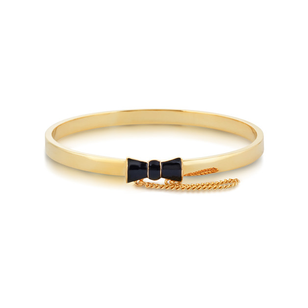 Disney Minnie: Mouse Black Bow Bangle - Yellow Gold