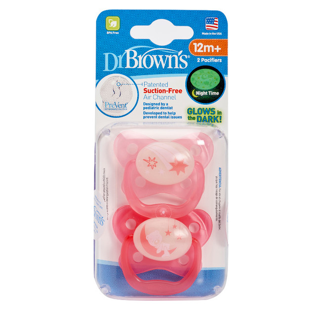 Dr Brown's PreVent Glow In The Dark Pacifier Pink Stage 3 - 12Mths+ (2 Pack)