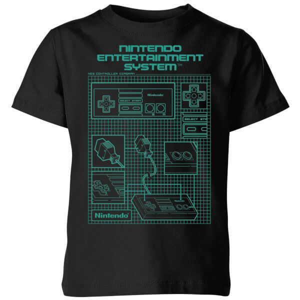 Nintendo NES Controller Blueprint Black Kids' T-Shirt - Black - 7-8 Years