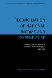 Studies in the National Income and Expenditure of the UK: Series Number 7 by James Sefton image