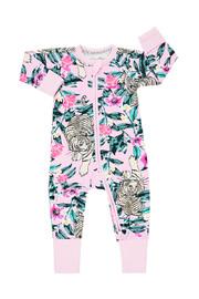 Bonds Zip Wondersuit Long Sleeve - Unreal Tiger Pink (18-24 Months)
