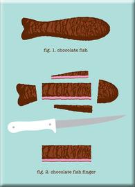 Chocolate Fish Finger Fridge Magnet - Glenn Jones