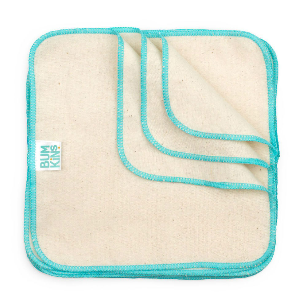 Bumkins: Reusable Baby Wipes - Natural/Aqua Trim (12Pk) image