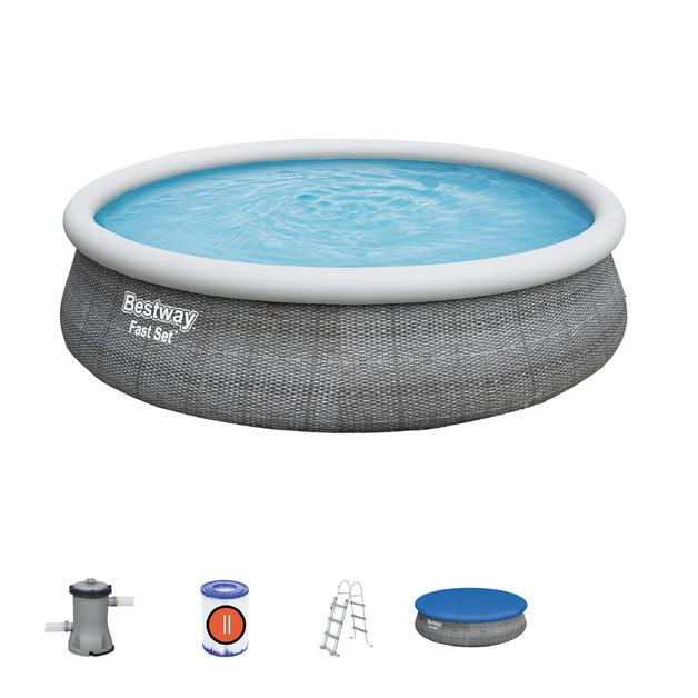 Bestway Fast Set Pool Set with Filter Pump and Ladder (15'/4.57m)