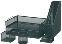 FM 6 Piece Mesh Desk Set - Black
