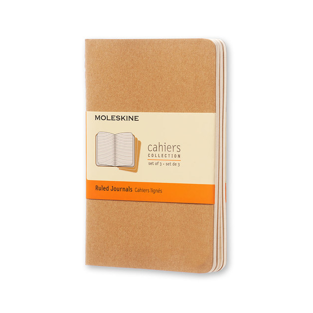 Moleskine Cahier Pocket Soft Cover Ruled Journal - Kraft Brown (Set of 3)