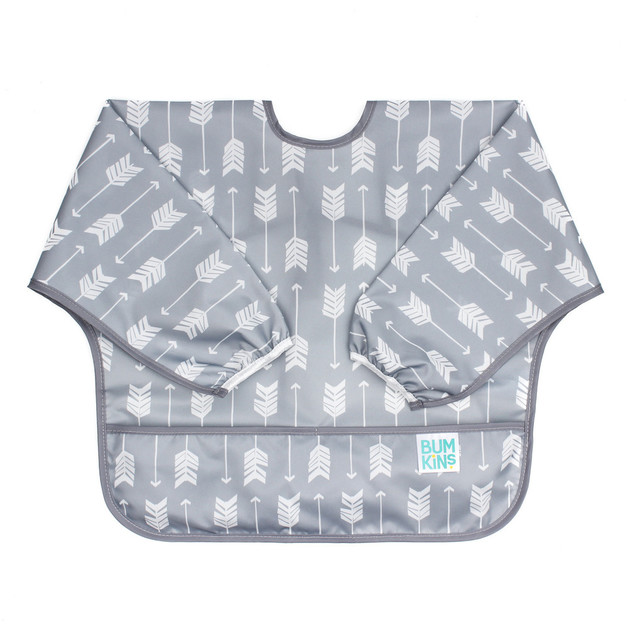 Bumkins: Waterproof Sleeved Bib - Grey Arrow