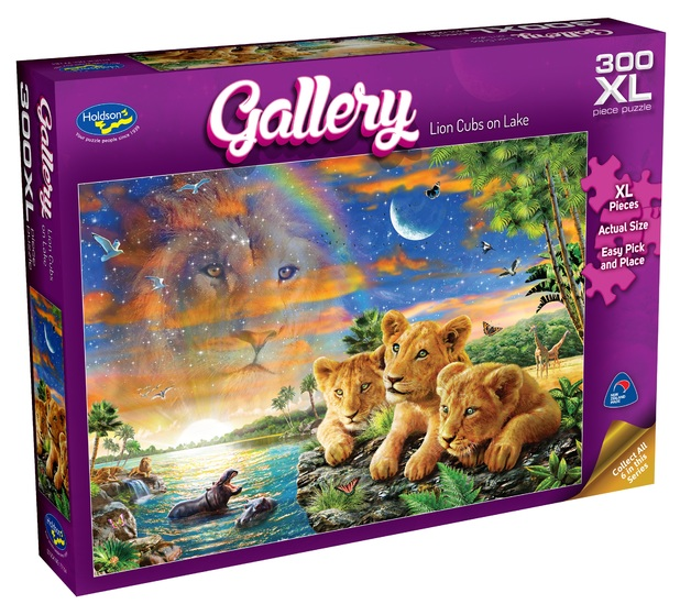 Holdson XL: 300 Piece Puzzle - Gallery S6 (Lion Cubs on Lake)