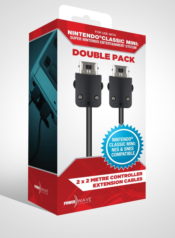 Powerwave Mini SNES 2M Controller Extension Cable (Double Pack) for