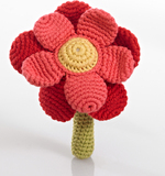 Pebble Crochet Flower Rattle (Double Red)