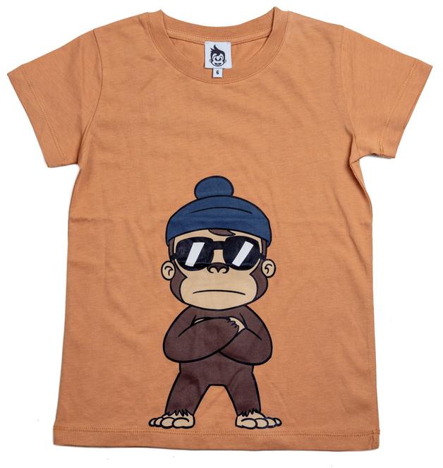 Cheeky Chimp: Print Tee - Tan (Size 6)