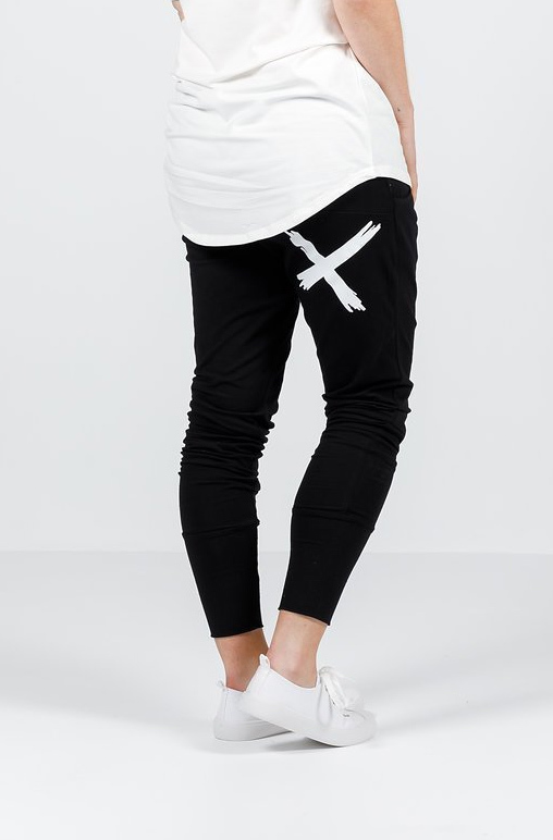 Home-Lee: Apartment Pants - Black With A Single White X - 8