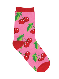 Kid's (7-10 Years) Mon Cherry Amour Crew Socks - Pink