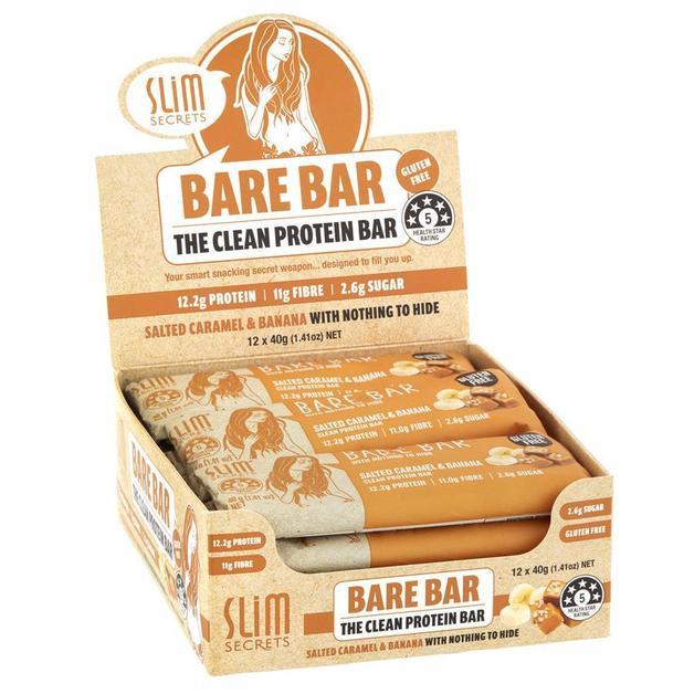Slim Secrets 'Bare Bar' Clean Protein Bars - Salted Caramel & Banana (12x40g)