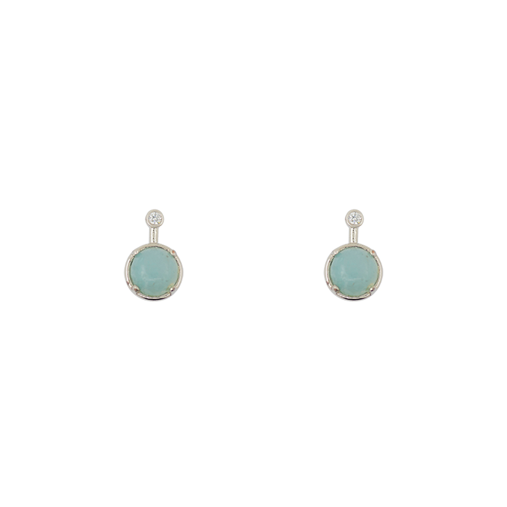 Short Story: Earring Simple Drop Amazonite Silver image