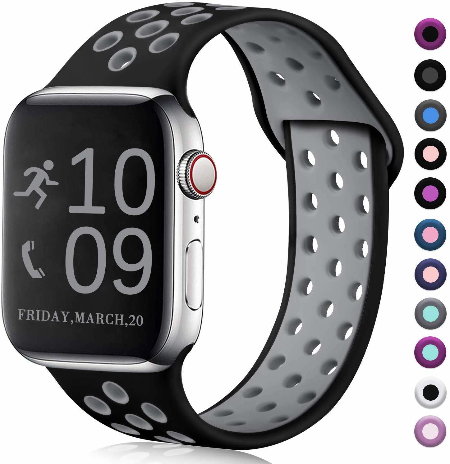Ape Basics: Replacement Sport Band for Apple Watch - Black/Gray (42mm/44mm, 220mm) image