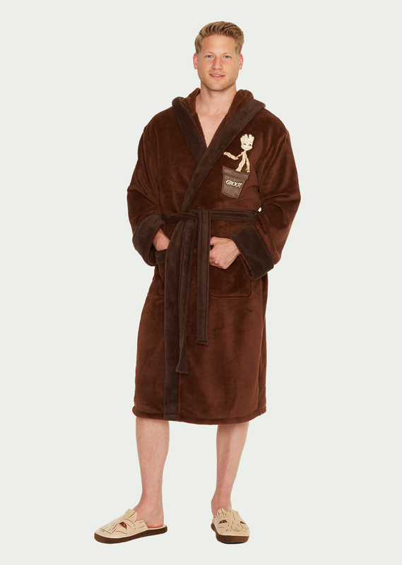 Marvel: Guardians of the Galaxy Baby Groot Fleece Hooded Robe - Brown Men's (One Size)