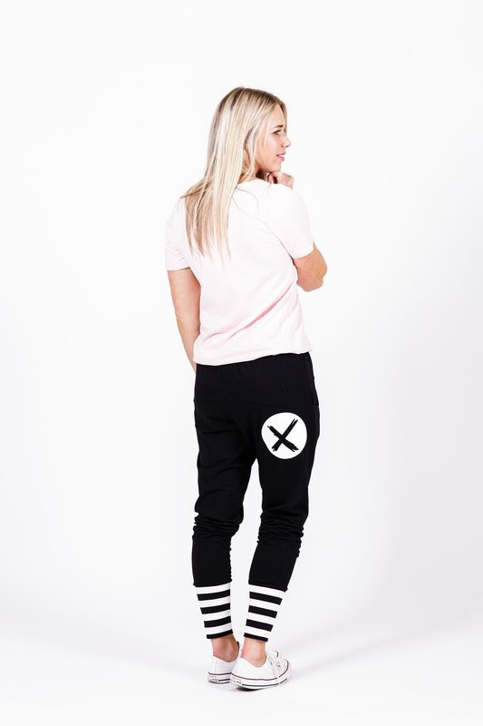 Home-Lee: Apartment Pants -Black With White X Spot Print And Stripe Cuffs - 8
